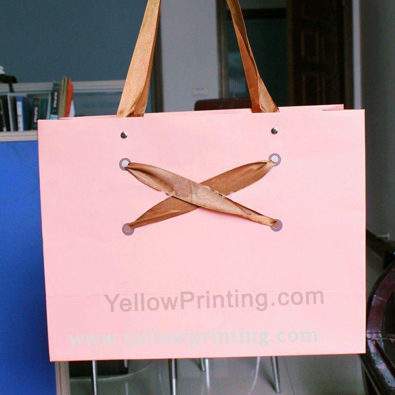 Custom pink paper shopping bag