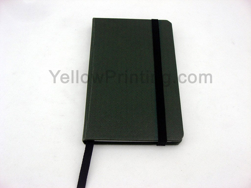 printed notebook with rubber band
