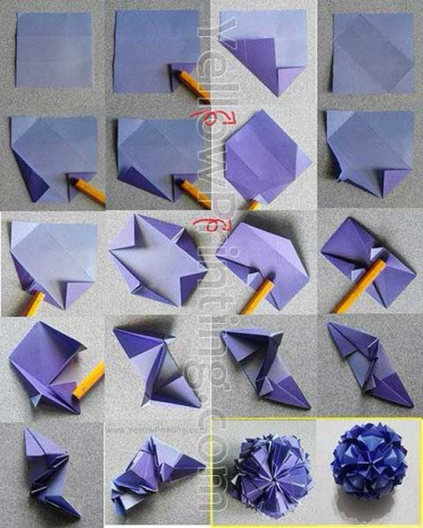 Creative origami paper craft folding instructions yellow printing creative origami paper craft folding instructions mightylinksfo